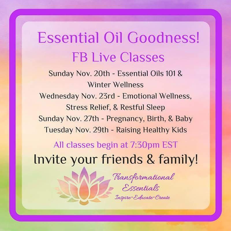 DoTERRA Essential Oils Live Online Class Series Begins Tonight
